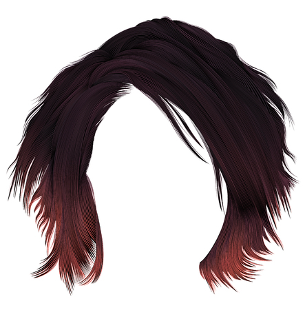 trendy woman disheveled hairs kare with fringe. dark varicolored red coloring. medium length. beauty style. realistic 3d.