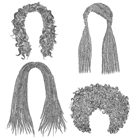 set of different curly hairs. fashion beauty african style. fringe pencil drawing sketch.
