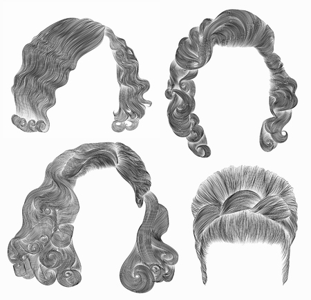 black hairs: set woman hairs. black pencil drawing sketch. retro hairstyle.babette curly waves Illustration