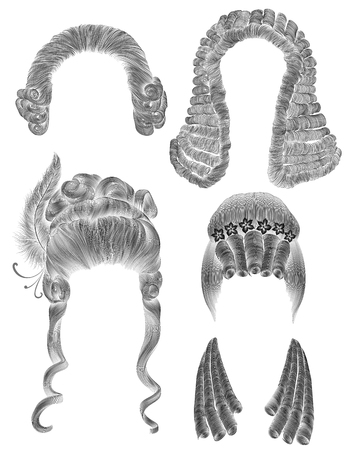 black wigs: set woman and man hairs. black pencil drawing sketch. medieval style rococo baroque. wig curls hairstyle