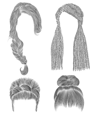 black hairs: set woman hairs. black pencil drawing sketch. bun babette with fringe hairstyle.women fashion beauty style. african cornrows.