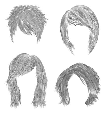 set short and Medium woman hairs. black pencil drawing sketch. women fashion beauty style. fringe curls cascade Disheveled care.