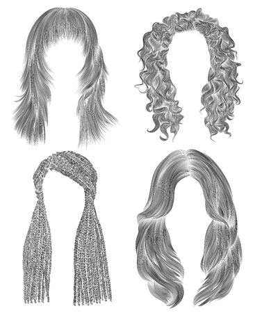 set long woman hairs. black pencil drawing sketch. women fashion beauty style. african cornrows. fringe curls cascade. Illustration