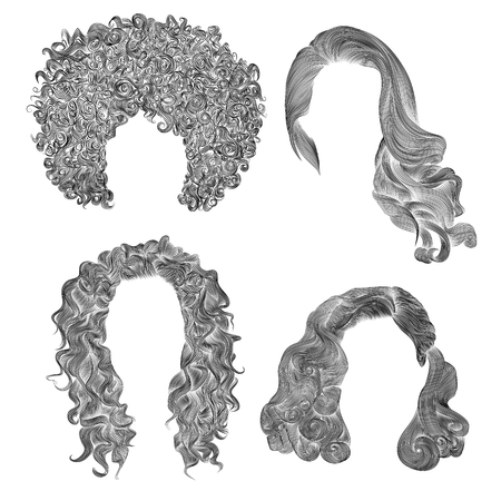 black wigs: set of different curly hairs. fashion beauty african style. fringe pencil drawing sketch.