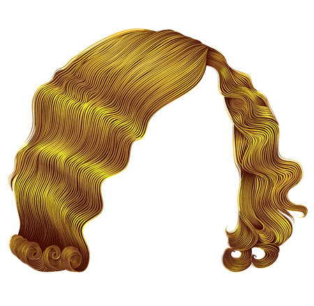 I capelli alla moda della donna kare il colore giallo luminoso. moda di bellezza. riccioli stile retrò. 3d realistico.
