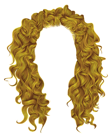 wig: long curly hairs bright yellow colors. beauty fashion style. wig.