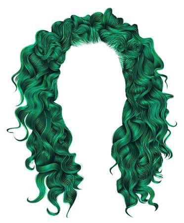 Lange krullende haren groene kleuren. Schoonheids mode stijl. Pruik.