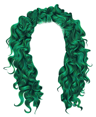 wig: long curly hairs green  colors .  beauty fashion style . wig .