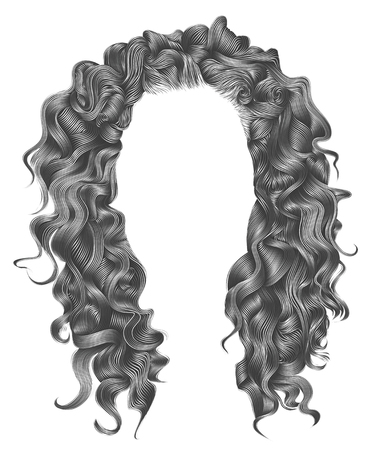 long curly hairs gray colors. beauty fashion style. wig. Illustration