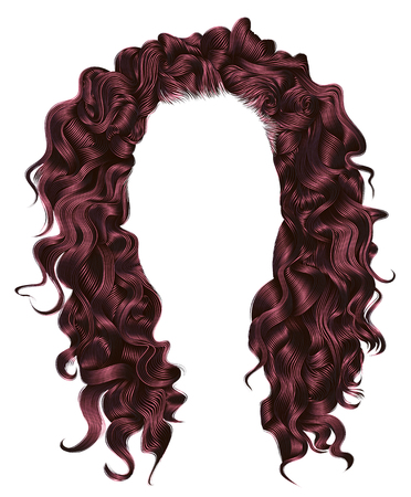 long curly hairs pink Copper colors. beauty fashion style. wig.