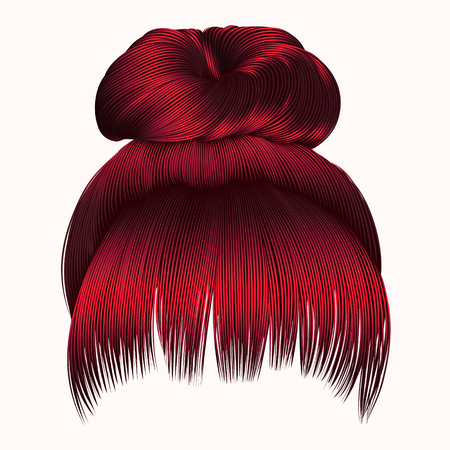 bun  hairs with fringe  Red colors . women fashion beauty style . Illustration