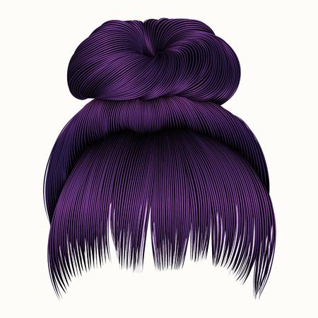 Bun haar met franje paarse kleuren. vrouwen mode schoonheidsstijl.