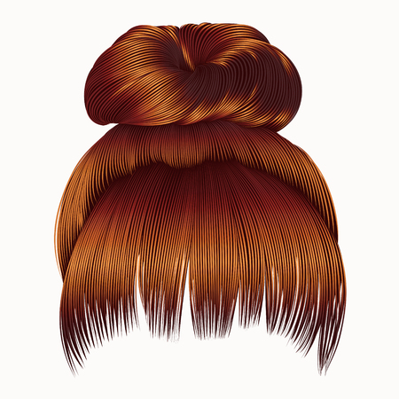 bun hairs with fringe Red redhead ginger colors. women fashion beauty style. Illustration