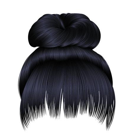bun hairs with fringe brunette black dark colors. colors. women fashion beauty style.