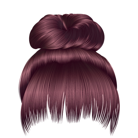 haircutter: bun hairs with fringe �opper pink colors. women fashion beauty style. Illustration