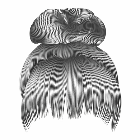 bun hairs with fringe gray colors. women fashion beauty style.