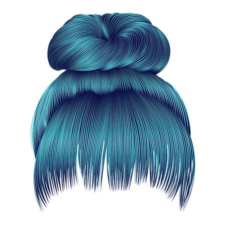 Brötchen mit Fransen blauen Farben. Frauen Mode Schönheit Stil.