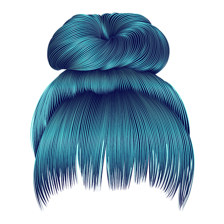 bun hairs with fringe blue colors. women fashion beauty style.