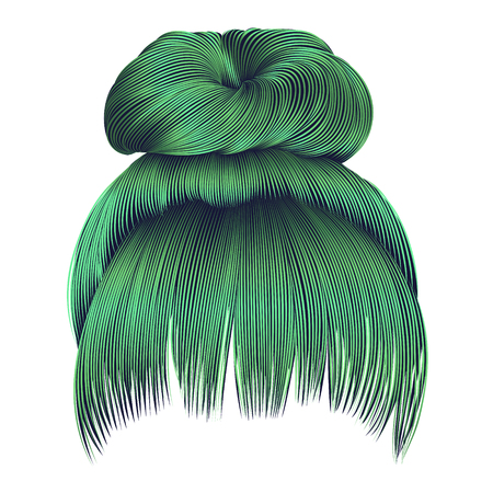 bun hairs with fringe green colors. women fashion beauty style.