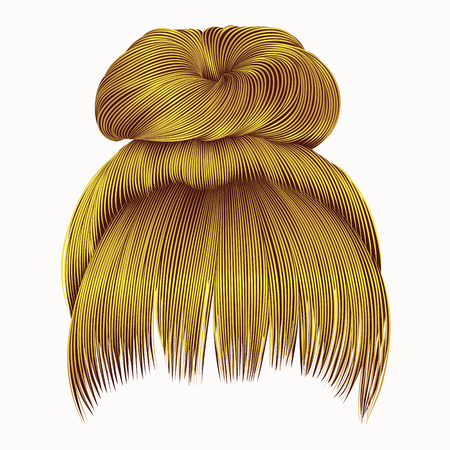 haircutter: Bun hairs with fringe bright yellow colors. women fashion beauty style.