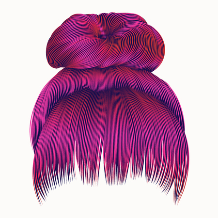 bun hairs with fringe bright pink colors. women fashion beauty style.