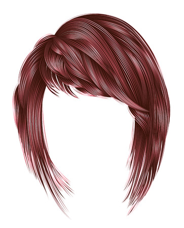 Trendy woman hairs with fringe. Copper pink colors. Medium length. Beauty style. Realistic 3d.
