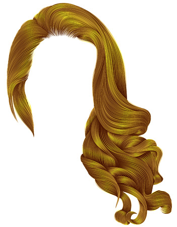 Woman trendy long curly hairs wig bright yellow colors .retro style. Beauty fashion. Realistic 3d.