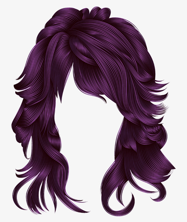 Trendy woman long hairs purple colors .beauty fashion. Realistic 3d