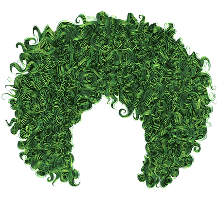 Trendy curly green hair. Realistic 3d. Spherical hairstyle. Fashion beauty style.
