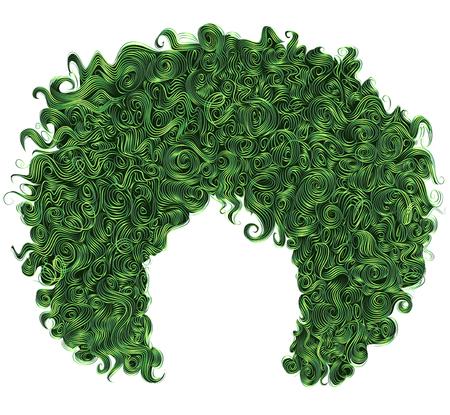 Trendy krullend groen haar. Realistische 3D. Sferisch kapsel. Mode schoonheidsstijl. Stock Illustratie