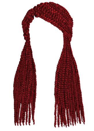 Trendy lange haarcornrows Rode kleur. Realistische graphics. Mode schoonheid stijl.