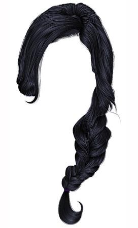 Trendy women hairs brunette black color. Plait. Fashion beauty style.