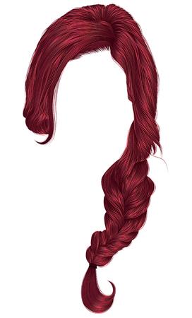trendy women hairs Red colour . plait .   fashion beauty style . Illustration