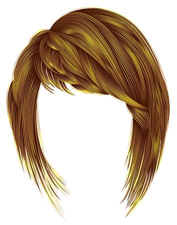 Trendy woman hairs bright yellow color. Kare with bangs. Medium length .fashion beauty style.