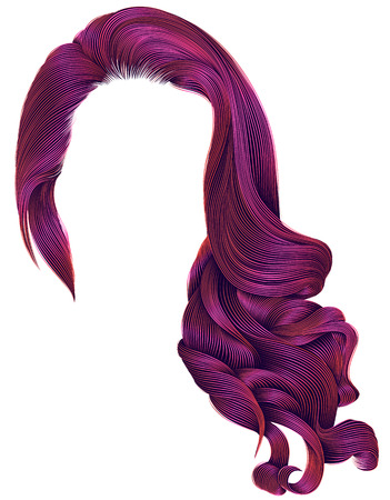 Woman trendy long curly hairs wig bright pink colors .retro style. Beauty fashion. Realistic 3d.