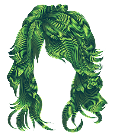 Trendy woman long hairs green colors .beauty fashion. Realistic 3d