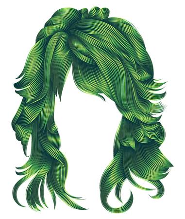 Trendy vrouw lange haren groene kleuren. Schoonheidsmanier. Realistische 3d