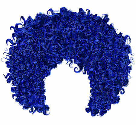 Trendy curly dark blue hair. Realistic 3d. Spherical hairstyle. Fashion beauty style.