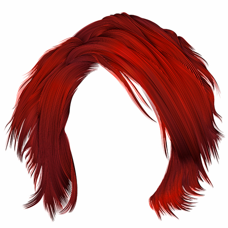trendy woman disheveled hairs red colors. beauty fashion. realistic 3d Ilustração