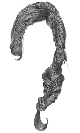 Trendy women hairs gray color. Plait. Fashion beauty style.