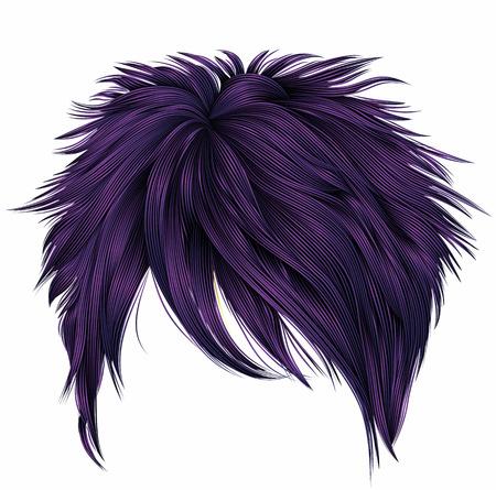 trendy woman short  hairs  purple  colors . fringe . fashion bea