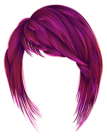 trendy  woman  hairs bright pink color. kare with bangs. medium