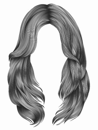 modne kobieta długie włosy kolorów. moda piękna. realistyczny