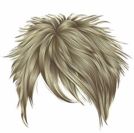 colores rubios de moda de los cabellos cortos de la mujer. franja estilo de la belleza de la manera. 3D realista. Ilustración de vector