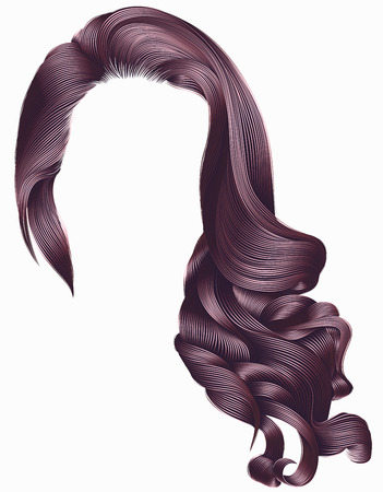 woman trendy long curly hairs wig pink colors . Stock Vector - 82962083