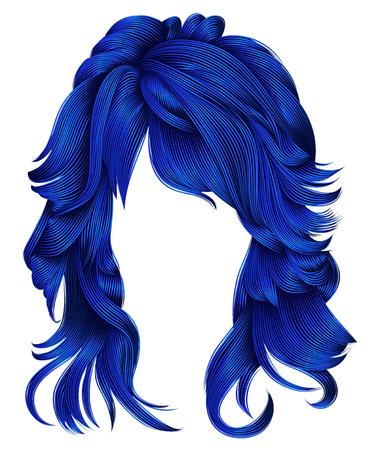 trendy woman long hairs dark blue  colors .beauty fashion .  realistic 3d
