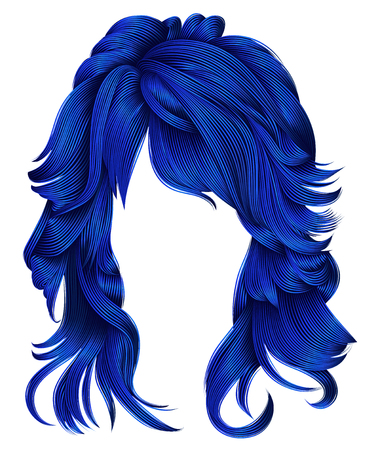 trendy woman long hairs dark blue  colors .beauty fashion .  realistic 3d