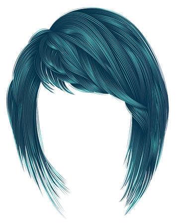 trendy  woman  hairs blue color. kare with bangs. medium length