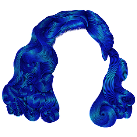 trendy woman short  hairs dark blue colors . fringe. fashion beauty retro style . realistic 3d Illustration