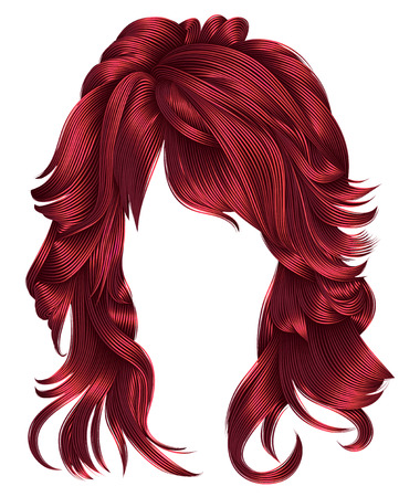 trendy woman long hairs Red colors .beauty fashion .  realistic 3d